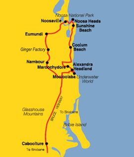 Australian Day Tours Sunshine Coast and Noosa map