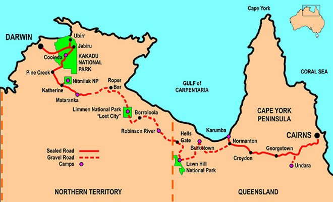 14 Day Gulf and Kakadu Overlander map
